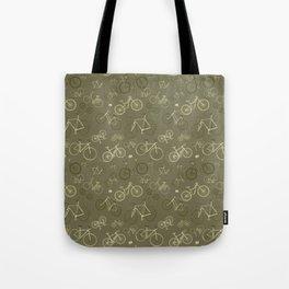 I love bikes in army green Tote Bag