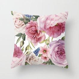 WATERCOLOR ROSES Throw Pillow