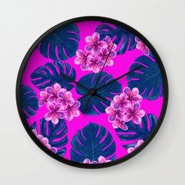 Tropical Pink Print Wall Clock