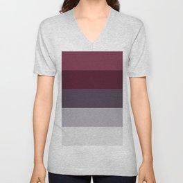 scandinavian moody winter fashion dark red plum burgundy grey stripe Unisex V-Neck