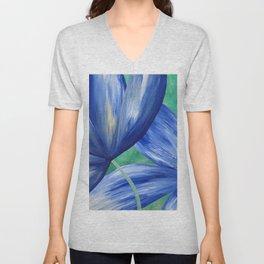 Large Blue Flowers Unisex V-Neck