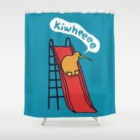 kiwi Shower Curtains featuring Kiwi by Picomodi