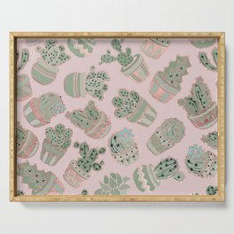 Blush pink mint green rose gold cactus floral Serving Tray