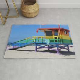 Rainbow Lifeguard Stand (Venice, California) Rug