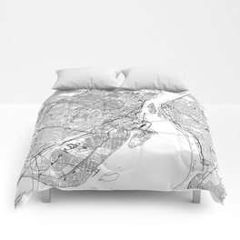 Montreal White Map Comforters