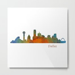 Dallas Texas City Skyline watercolor v01 Metal Print