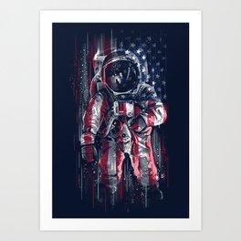 Astronaut Flag Art Print