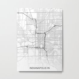 Indianapolis IN Map White USA Metal Print