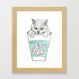 Cats & coffee Framed Art Print