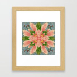 Lotus and Leaves Mandala Framed Art Print