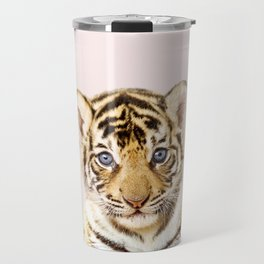 Baby Tiger With Pink Background, Baby Animals Art Print by Synplus Travel Mug