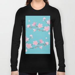 Cherry Blossom - Robin Egg Blue Long Sleeve T-shirt
