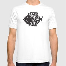 REFUSE TO SINK LARGE White Mens Fitted Tee