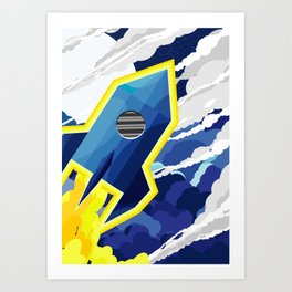 flyng rocket in space Art Print