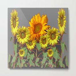 SUNFLOWER FIELD in CHARCOAL GREYS Metal Print