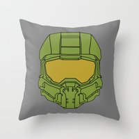 master chief Throw Pillows featuring Master Chief Helmet - Halo MCC by RoboKev