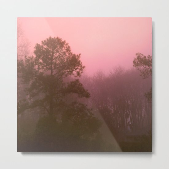 Pink Tree 2 Square Metal Print