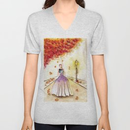 Autumn Girl Watercolor Illustration. Unisex V-Neck