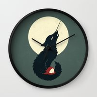 red riding hood Wall Clocks featuring Little Red Riding Hood by Freeminds
