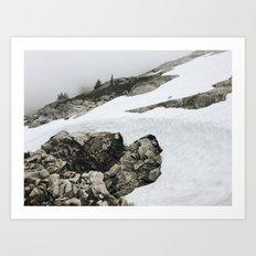 Snowy Cascade Trail Art Print