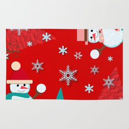 Snowman red Rug