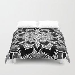 Mandala: Black Gray White Flower Duvet Cover