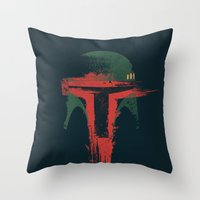 hunter Throw Pillows featuring Bounty Hunter by Victor Vercesi