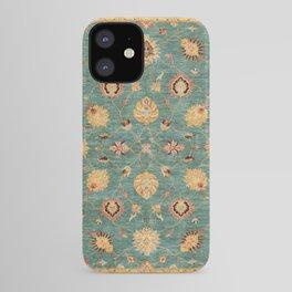 Oushak  Antique Gold Teal Turkish Rug Print iPhone Case