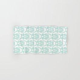 Modern Farmhouse Scroll Ikat Pattern - White Blue Hand & Bath Towel