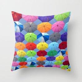 Myriads of Umbrellas Throw Pillow