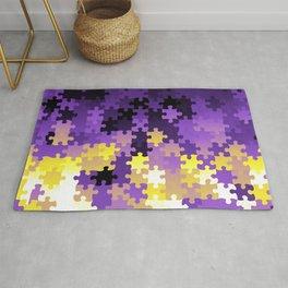 Nonbinary Pride Puzzle Pieces Pattern Rug