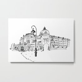 drawing pencil. the city central street, a streetlight on a front background. beginning of the 19th Metal Print