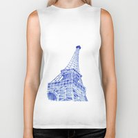 eiffel tower Biker Tanks featuring Eiffel Tower by BlueShadowM