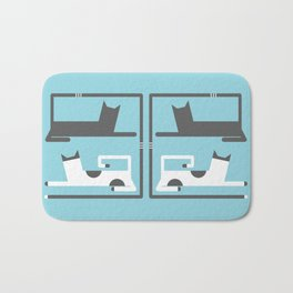 CATS IN LOVE - BLUE Bath Mat