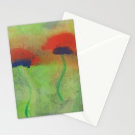 Gouache painting of red poppies on a green meadow Stationery Cards