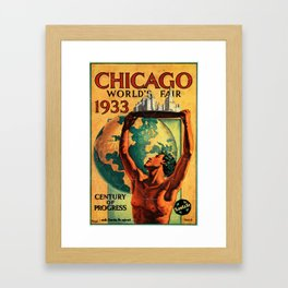 Chicago World's Fair 1933 Vintage Poster Framed Art Print