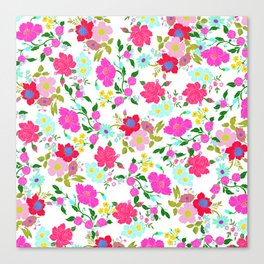 Modern Pink Teal Yellow Hand Painted Floral Canvas Print