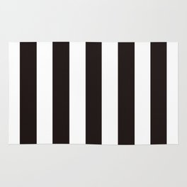 Licorice black - solid color - white vertical lines pattern Rug