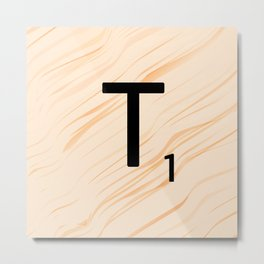Scrabble Letter T - Large Scrabble Tiles Metal Print