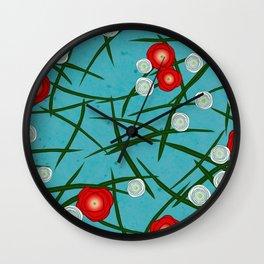 Japenese Water Flowers Pattern Wall Clock