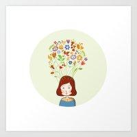 Fusi and her flower head Art Print