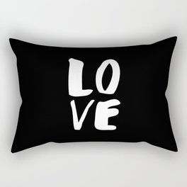 LOVE Wall Art Home Decor in Black-and-White Ink Modern Typography Poster Graphic-Design Minimalism Rectangular Pillow
