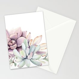 Desert Succulents on White Stationery Cards