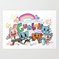 gumball Art Prints featuring GUMBALL by Suyeda