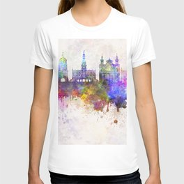 Lublin skyline in watercolor background T-shirt