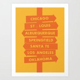 City signpost route 66 locations Art Print