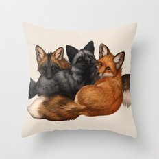 Fox Trio Throw Pillow