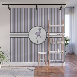 Purple Flamingo Stripes Pattern Design Wall Mural