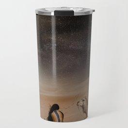 Desert Rest (Woman & Camel Landscape) Travel Mug