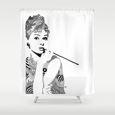 Audrey Hepburn - black and white Shower Curtain